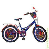 Велосипед детский PROF1 мульт 20д. Spider, сине-черный, зеркало, звонок