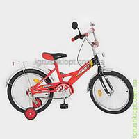 Велосипед PROFI детский 18 д. красно-черный, звонок, приставные колеса