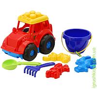 """Трактор """"Кузнечик"""" №3: трактор, ведёрко, лопатка и грабельки (ЛГ3) и три пасочки (П3) COLORplast"""