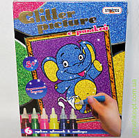 "Картина из глиттера с рамкой ""Слон"" ST"
