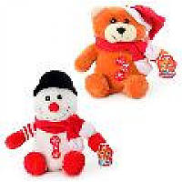 Микс MP 0355 мягкая игрушка Мишка, Снеговик 25 см.
