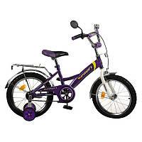 Велосипед PROFI детский 16 д. P 1638 бело-фиолетовый,звонок,пристав.колеса