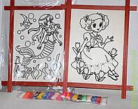 Www Набор для творчества, картина-раскраска в фигурной дер. рамке, цв наполнитель