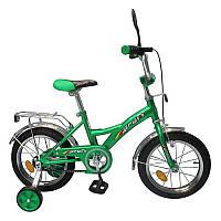 Велосипед детский 12 дюймов P 1232 зеленый, звонок,зеркало,приставные колеса