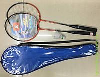Бадминтон 2 ракетки 65см, воланчик, 3 цвета, в чехле