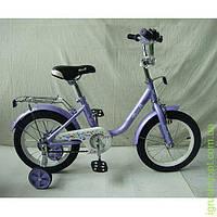 Велосипед детский PROF1 14д, Flower, фиолетовый, зеркало, звонок, доп.колеса