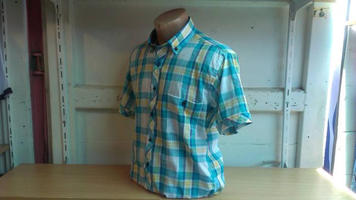 Мужская рубашка спорт DERGI с коротким рукавом приталенная лен