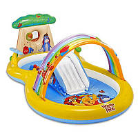 Игровой центр 57136 Винни Пух, размер 282-173-107см, горка, душ, шарики 6шт и надувное кольцо