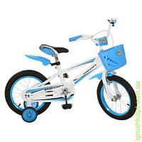 Велосипед PROFI детский 16д. голуб, полная защита цепи, корзина, прист колеса