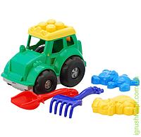"""Трактор """"Кузнечик"""" №2: трактор, лопатка и грабельки (ЛГ4), две большие пасочки (П4) COLORplast"""
