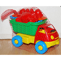 Машинка арт. L-014-2 Смайлик с набором (лопатка + грабли 15см.+4 паски )