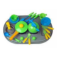 Плита с мойкой и посудой. в кор 04-411