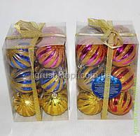 Ёлочные шарики в коробке, 12шт по 6см