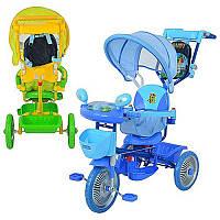 Велосипед ET A 24-9-1 три колеса, метал., 2 цв:голуб/зел,муз, свет,колясочн.ручка,рюкзак
