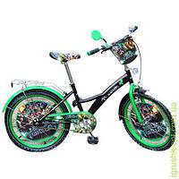 Велосипед детский мульт 20д. ЧН,черно-зеленый,зеркало,звонок