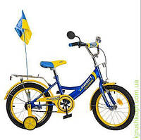 Велосипед PROFI UKRAINE детский 16 д. голубой, звонок, зеркало, флажок, прист.колеса
