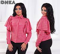 Женская блузка больших размеров 50+ с воланами на плечах арт 4368-1