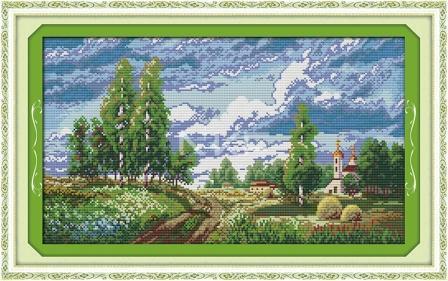 Родной пейзаж F326 Набор для вышивки крестом с печатью на ткани 14ст