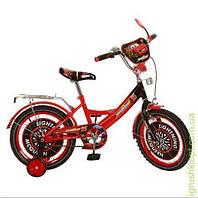 Велосипед детский мульт 16д. ТЧ, красно-черн, зеркало, звонок, в кор-ке