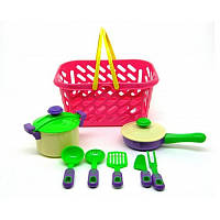 Посуда в корзинке , кастрюля,сковорода. 04-435