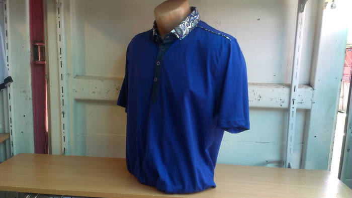 Мужское поло синего цвета Cottonart