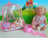 Кукла функц. 2 вида, пьет-писает, с бут, горшком, вилка, ложка в рюкзаке