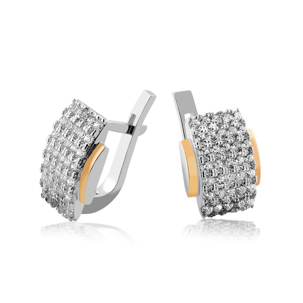 Серебряные серьги с золотыми пластинами Юрьев 379 с