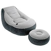 Велюр кресло 68564 (4шт) с подстаканником, с пуфиком, 102-127-76см, в кор-ке, 35-30-11см