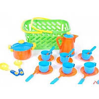 Посуда в корзинке,кастрюля,кофейник,6 чашек. идр (6шт/уп) 04-437