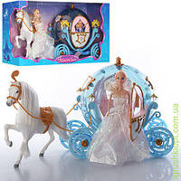 Карета с лошадью, 55см, свет, кукла 29см, на бат-ке, в кор-ке