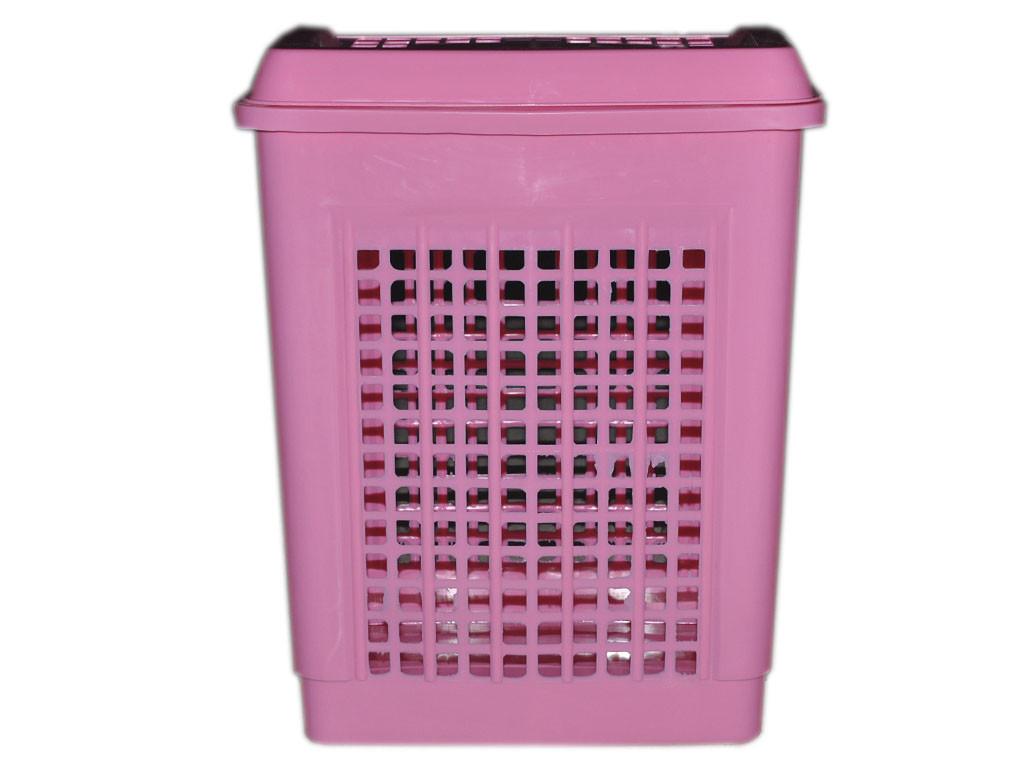 Корзина для белья с крышкой 55л Консенсус розовая