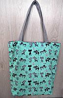 Пляжная, городская сумка с принтом котики, бирюзовая
