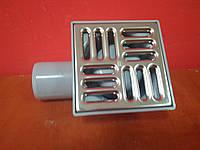 Канализационный трап D50 100*100мм боковой с хромированной решеткой