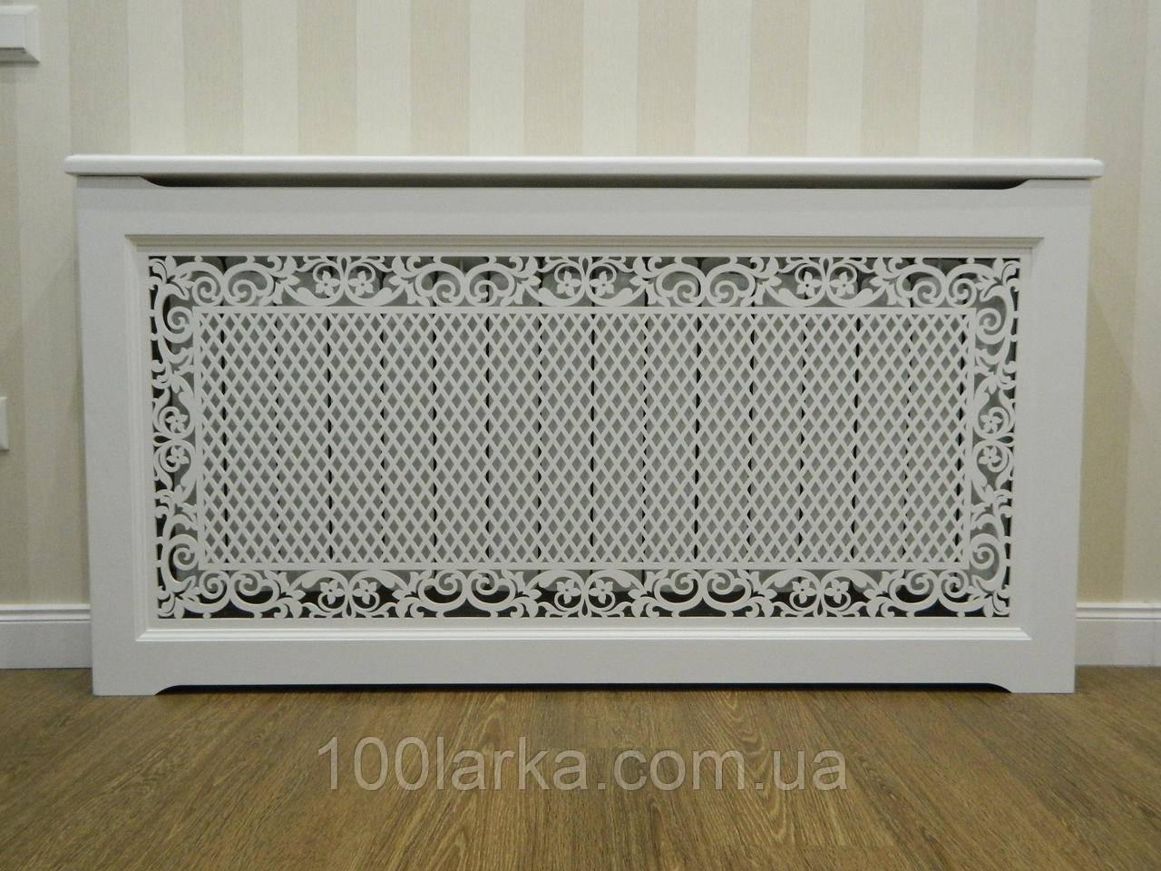 Решетки на батареи отопления, декоративные экраны (короб) R55-F60 белый с комплектом для монтажа