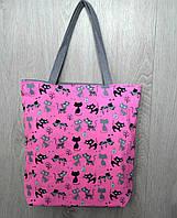 Пляжная, городская сумка с принтом котики, розовая