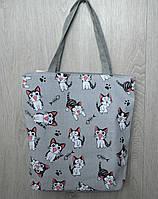 Пляжная, городская сумка с принтом котики, серая