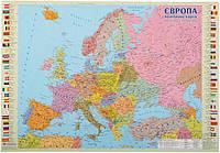 Подкладка для письма Европа полетическая карта ламинированная 65*45 см