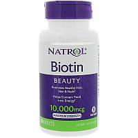 БИОТИН «Максимальная сила», 10000 мкг, 100 таблеток. Сделано в США. Natrol, Biotin, Maximum Strength, фото 1