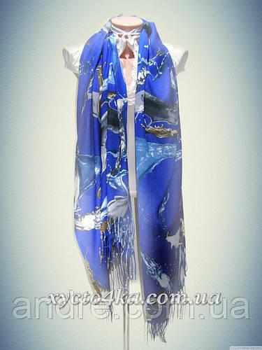 Кашемировые палантины Краски, синий