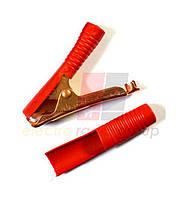 Зажим аккумуляторный 100А gold, длина-90мм, красный