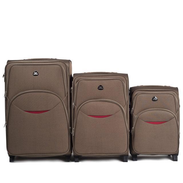 Валіза сумка Suitcase 2 колеса набір 3 штуки пісочний
