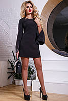 Элегантное женское короткое платье из костюмной ткани, с вышивкой, чёрное, размер 50