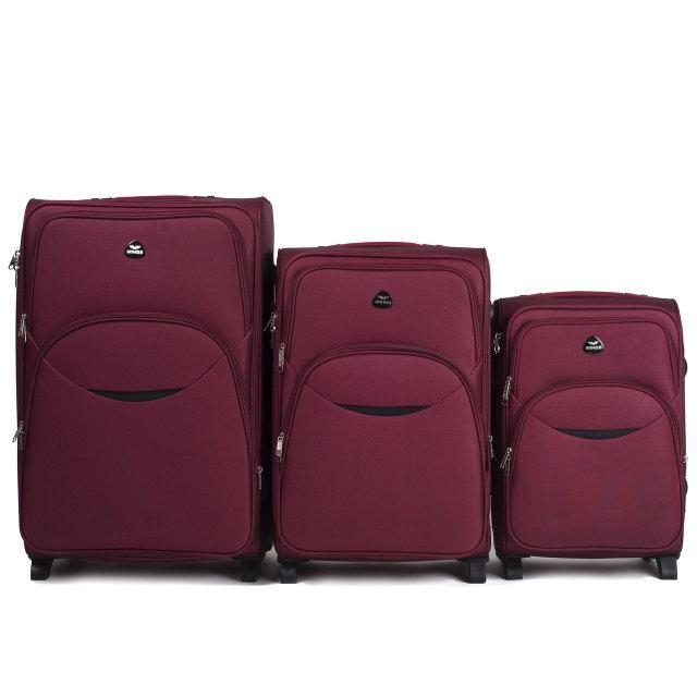 Чемодан сумка Suitcase 2 колеса набор 3 штуки бордовый
