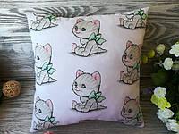 Подушка  котенок с салатовым бантом , 30 см * 30 см