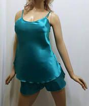 """Атласная пижама женская майка с шортами, """"любимое сердце"""", фото 3"""