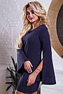Жіноче коротке плаття синє з вишивкою, фото 3