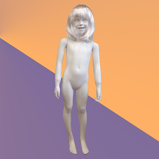 Манекен детский белый глянцевый - девочка (стекловолокно, 122 см)