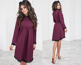 Однотонное платье с кружевом, фото 2