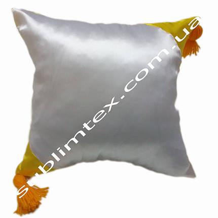Подушка атласная,искусственная,цветная сторона+цветные уголки+кисточка,размер 35х35см., желтый, фото 2