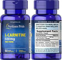 Puritan's Pride, Л-карнитин, 500 мг, 60 капсул